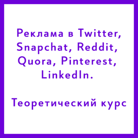 Курс «Реклама в Twitter, Snapchat, Reddit, Quora, Pinterest, LinkedIn. Теоретический курс»